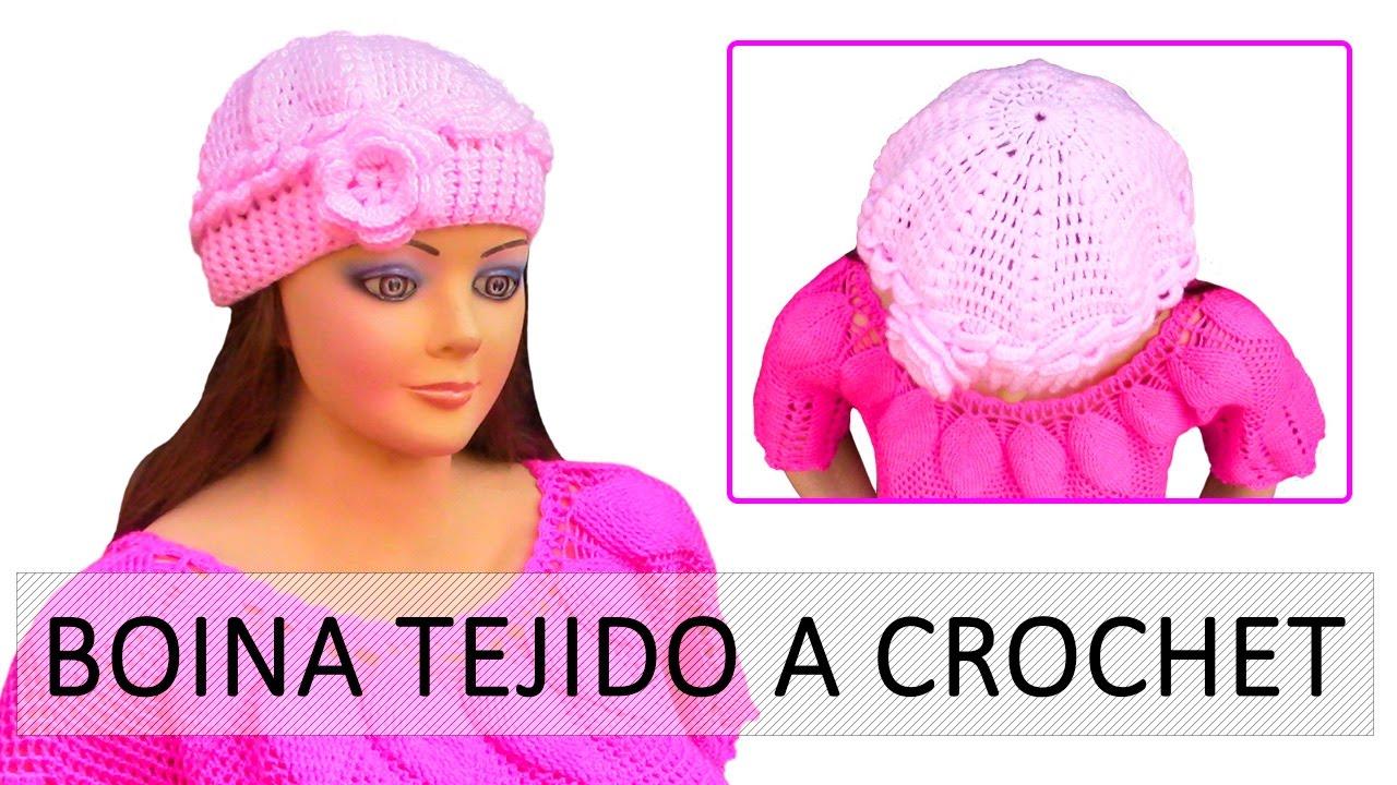 65550d635fb41 Boina a crochet con flor fácil de tejer en punto olitas y relieves ...