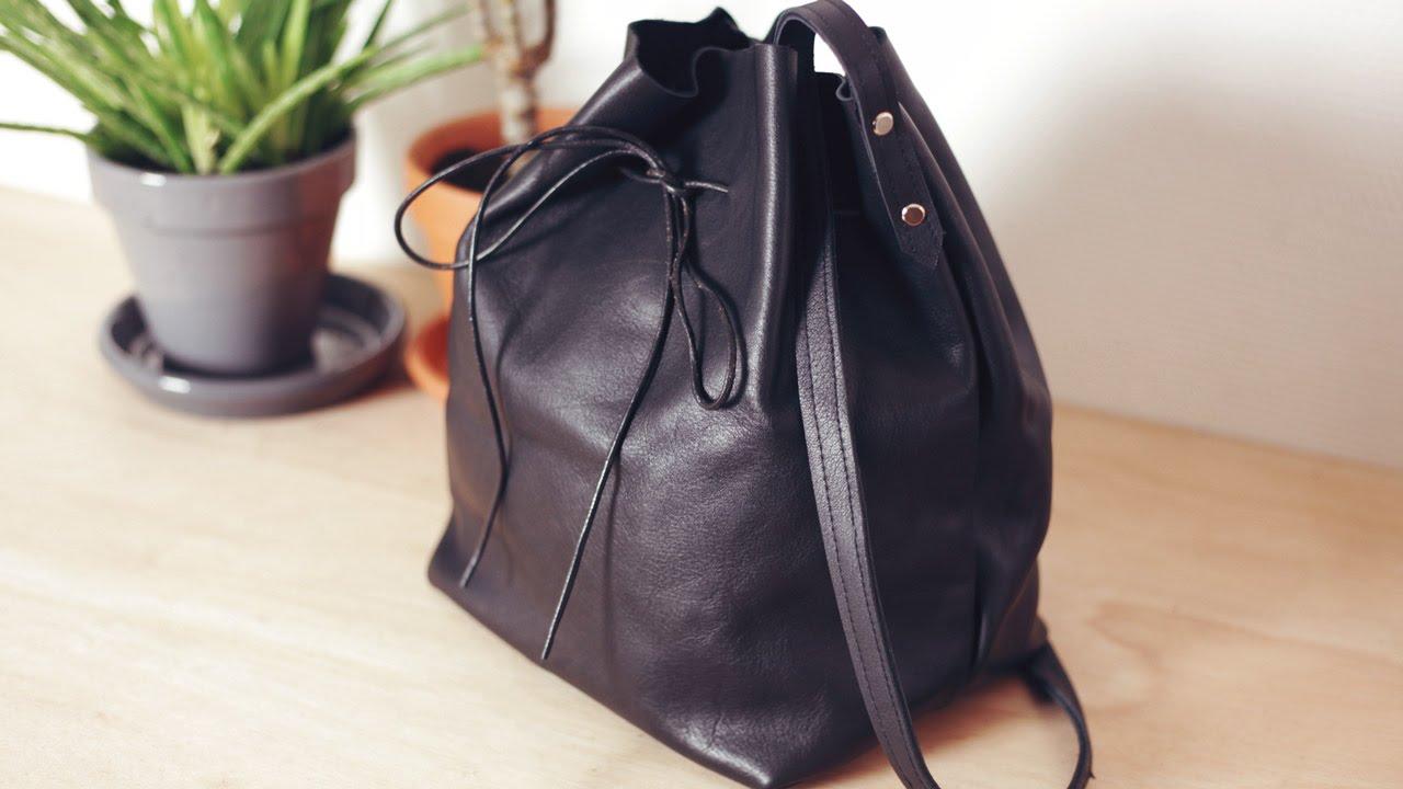 diy leather bucket bag diy sac seau en cuir youtube. Black Bedroom Furniture Sets. Home Design Ideas
