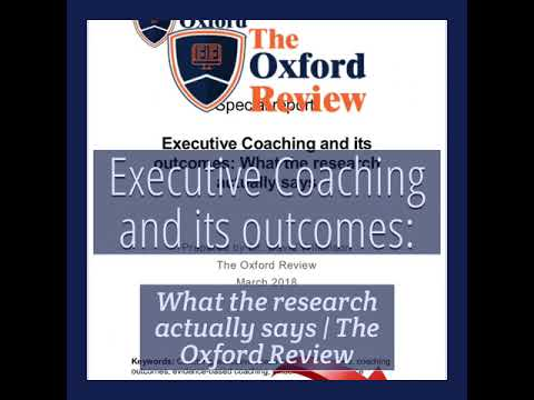 Executive Coaching and its outcomes: