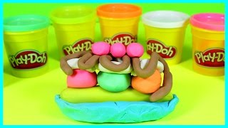 Play-doh Banana Split Triple Scoop Ice Scream With Fudge Whipped Cream And Cherries On Top!