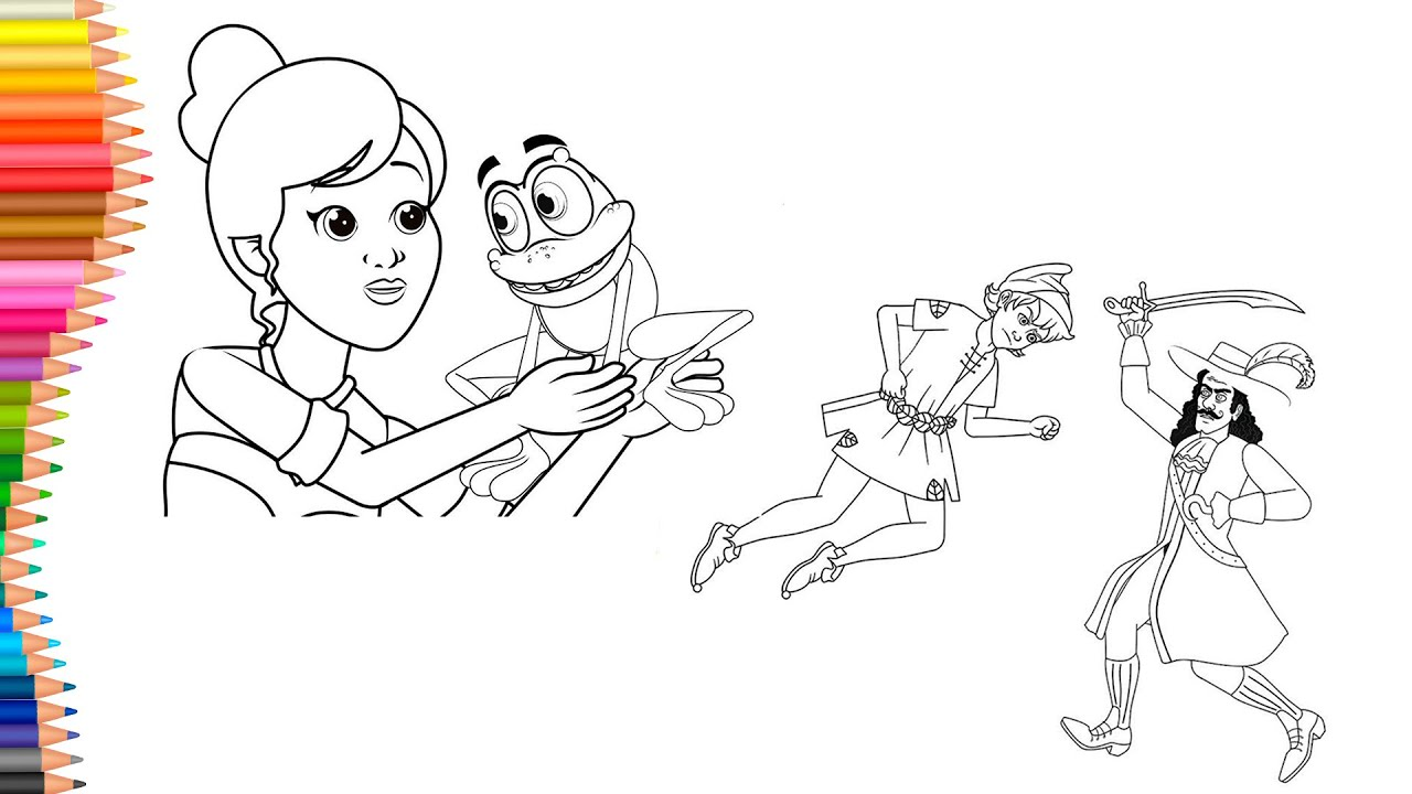 Dibujar y Colorea   Dibujos Para Niños   Peter Pan y Capitán Hook - El Príncipe Rana