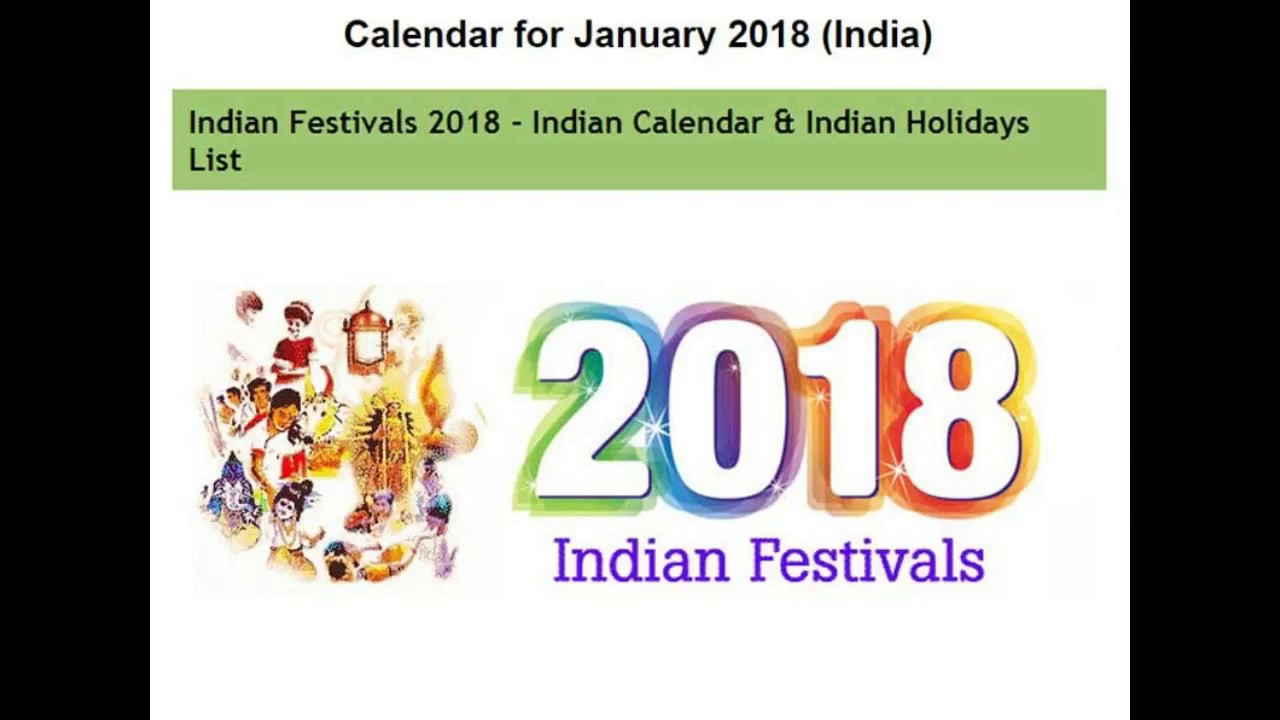 Indian Festivals and Holidays Calendar 2018