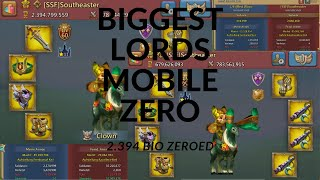 Lords Mobile - BIGGEST ZERO IN LM HISTORY - 2.4 Billion Might ZEROED