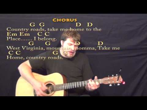 Country Roads (John Denver) Strum Guitar Cover Lesson in G with Chords/Lyrics