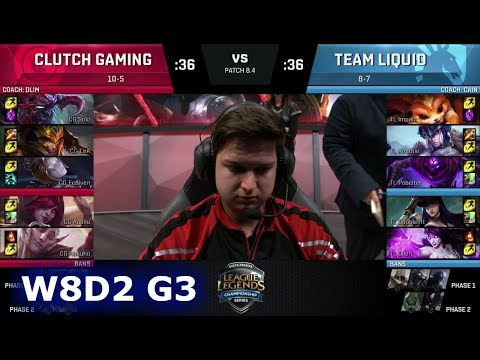 Clutch Gaming vs Team Liquid | Week 8 Day 2 of S8 NA LCS Spring 2018 | CG vs TL W8D2 G3