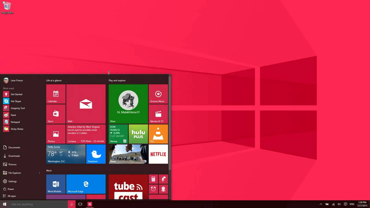 The Windows 10 Home Screen - YouTube