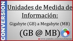 Convertir de Gigabyte a Megabyte (GB a MB)