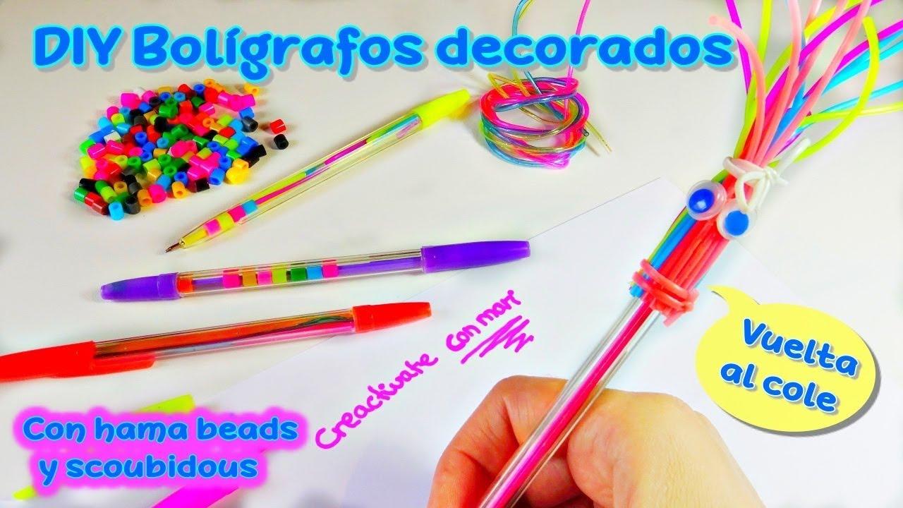462fc1b8c149 Diy bolígrafos decorados con hama beads y scoubidous | Manualidades