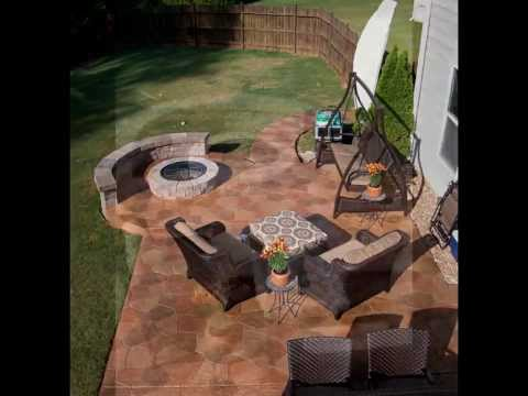 Stamped Concrete Flagstone Patio With Fire Pit And Knee Wall
