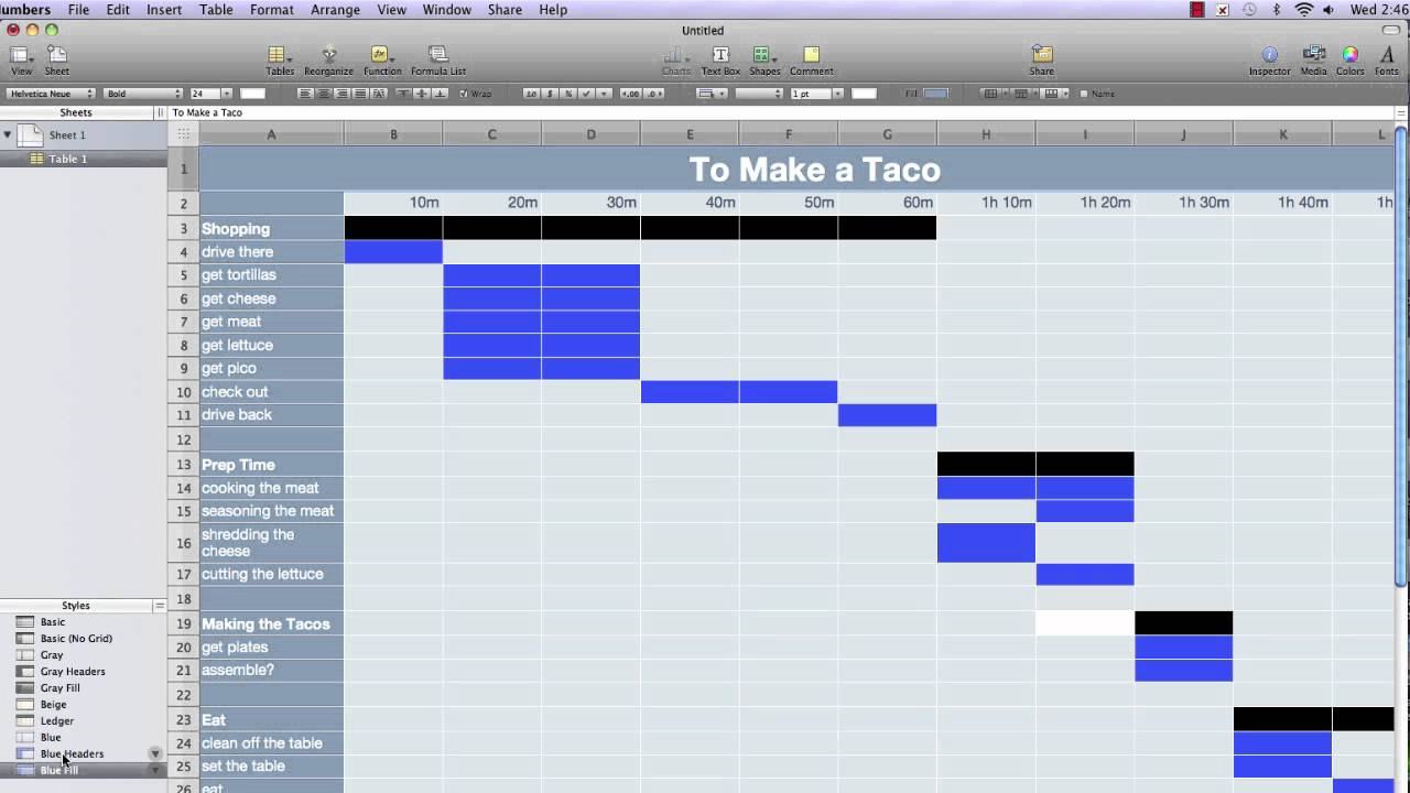 Setting Up A Basic Gantt Chart In Numbers 09 Part1
