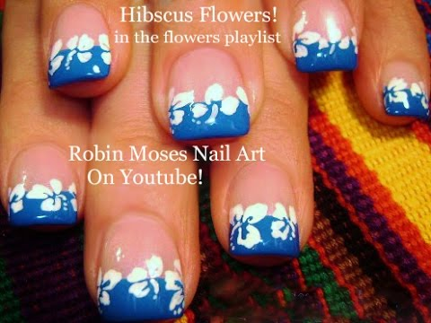 Easy Hibiscus Nail Art Tutorial Tropical Design For Short Nails