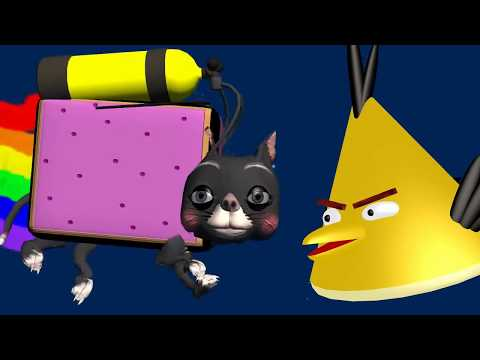 NYAN CAT Starring Angry Birds ♫ 3D Animated Game Mashup ☺ FunVideoTV Style