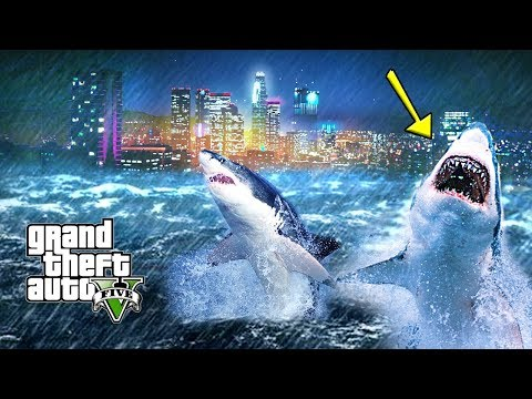 INSANE TSUNAMI WITH SHARKS DESTROYS LOS SANTOS !!! GTA V APOCALYPSE MOD