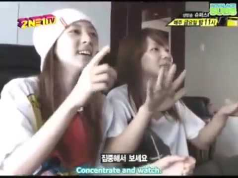 Cl and dara watch tv at Minzy at the Dance Battle