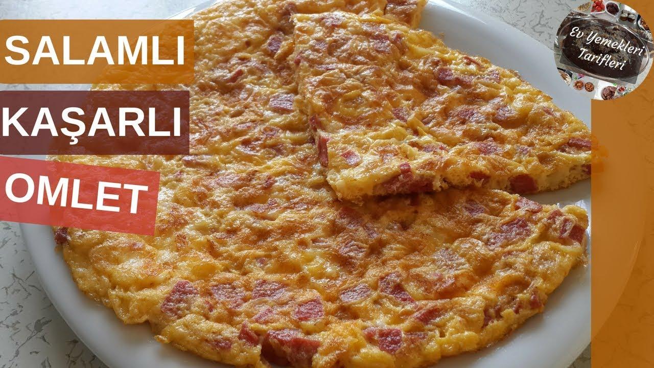 Salamlı Kaşarlı Omlet Tarifi - Ev Yemekleri Tarifleri
