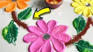 Basic rangoli flowers for diwali by Easy Craft ideas - Very Easy Diwali Rangoli