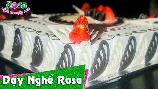 Bánh kem sinh nhật trái cây chocolate hình vuông cực kỳ công phu