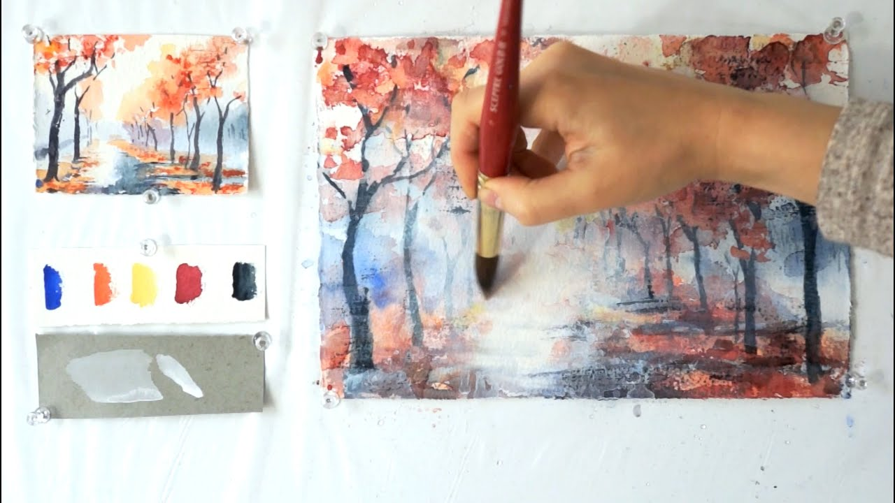 Autumn Alley. Step by step watercolor tutorial. Part 2 ...