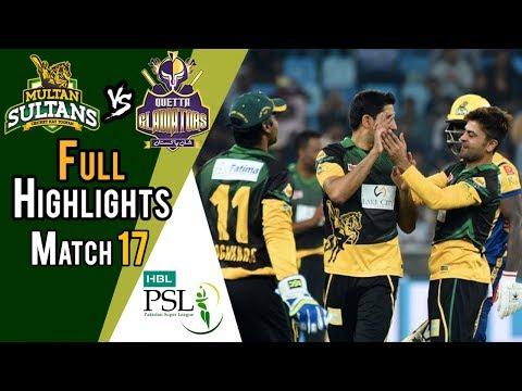 Full Highlights | Quetta Gladiators Vs Multan Sultans  | Match 17 | 7th March | HBL PSL 2018