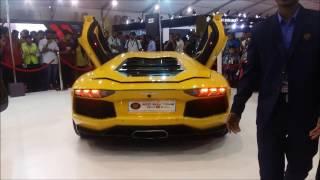 LAMBORGHINI AVENTADOR EXHAUST FIRE   AUTOCAR PERFORMANCE SHOW 2017 MUMBAI(BANDRA)