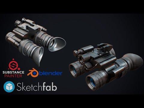 3D MODELING night vision goggles modeling timelapse