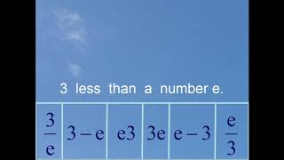 Three less than a number e. middle school math traps