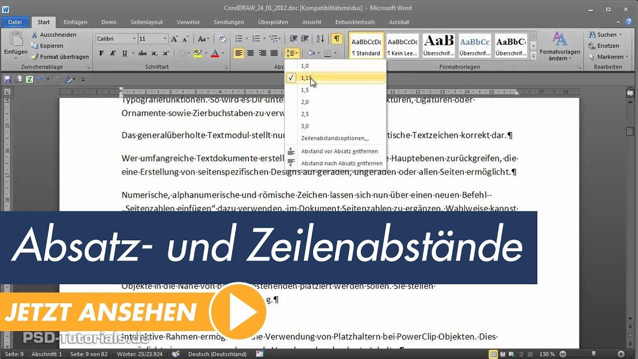 Microsoft Word Tutorial Absatz Und Zeilenabstände