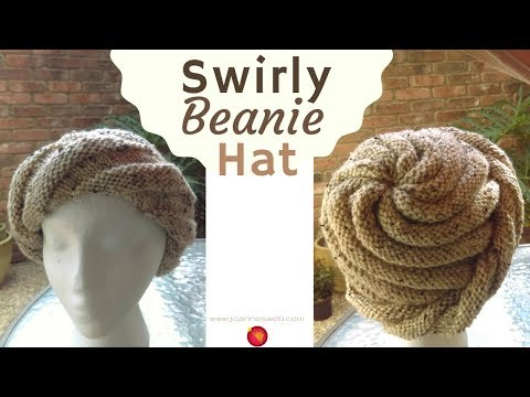 Swirly Beanie Hat - Spiral Knit Hat Pattern - Swirl Knitted Cap Hat