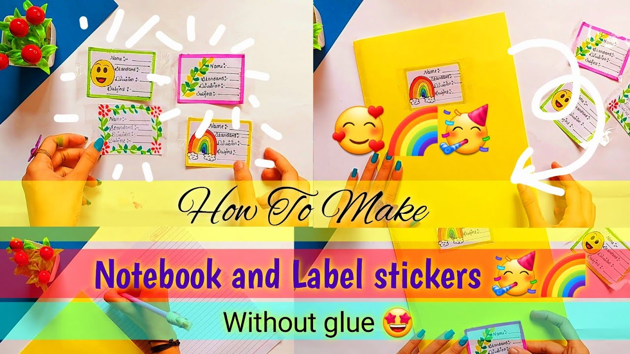 how to make cute label stickers🥰🌈 and notebook without glue |diy notebook|diy label sticker|Cs craft