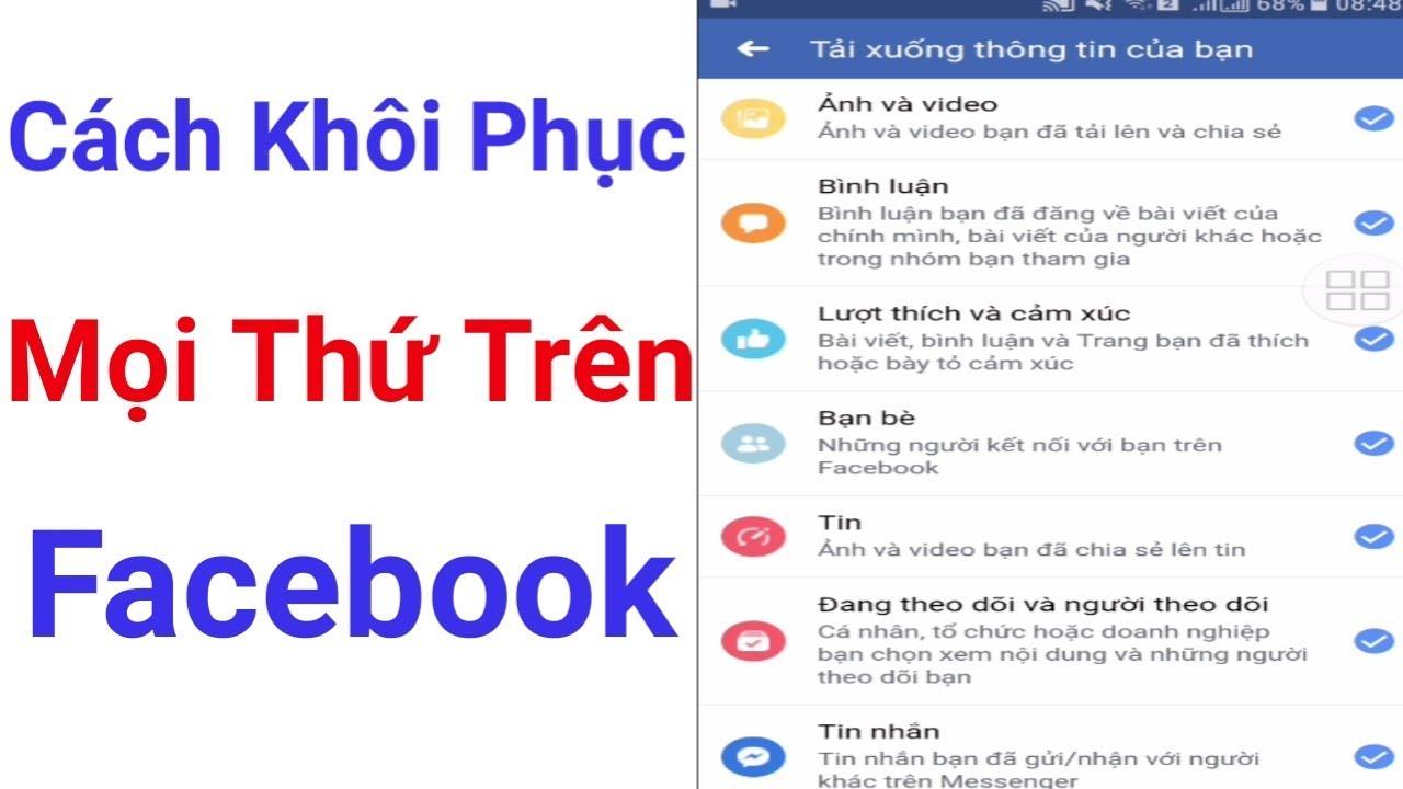 Cách khôi phục lại lịch sử tìm kiếm, tin nhắn và tất cả mọi thứ trên facebook
