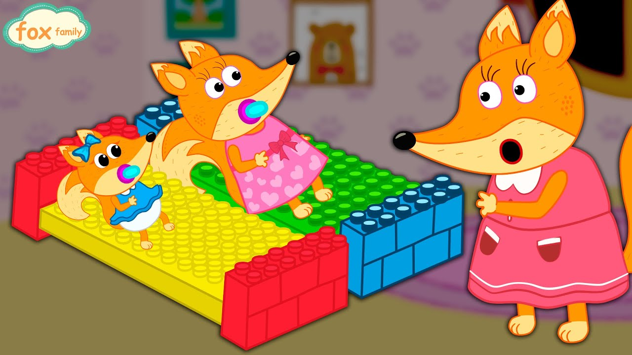 The Fox Family and friends build beds with lego - cartoon ...