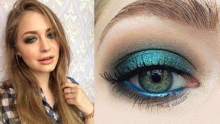 Зеленый/изумрудный яркий весенний макияж: видео-урок