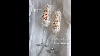 свадебные бокалы своими руками/декор бокалов кружевом и цветами из полимерной глины