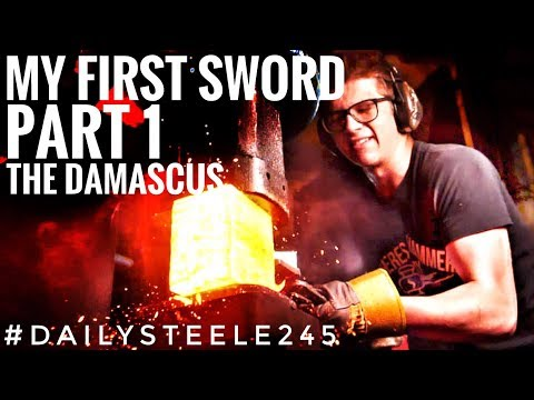 MAKING MY FIRST SWORD! Part 1: FORGING the Damascus Steel *MAXING OUT POWERHAMMER*