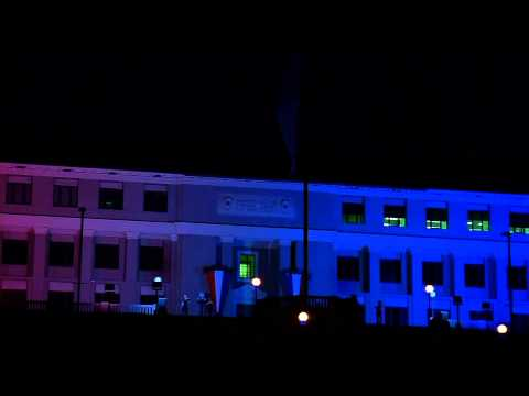 Panama Canal Administration Building Lights Up for National Holidays
