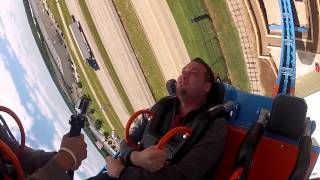 "Producer Ryan rides the ""Brain Drain"" at Frontier City"