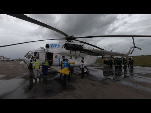 Food aid loaded into UN helicopters in Pemba, Mozambique (2