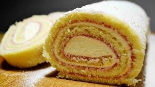 БИСКВИТНЫЙ РУЛЕТ с Сырным Кремом и Смородиновым Джемом | БИСКВИТ для рулета | Biscuit