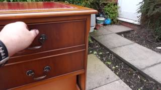 Twin Pedestal Writing Desk Filing Cabinet & Gainsborough Chair Antique Style