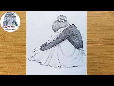 Alone Girl Pencil Sketch || How to draw a sad girl for beginners || Üzgün Kız Nasıl Çizilir