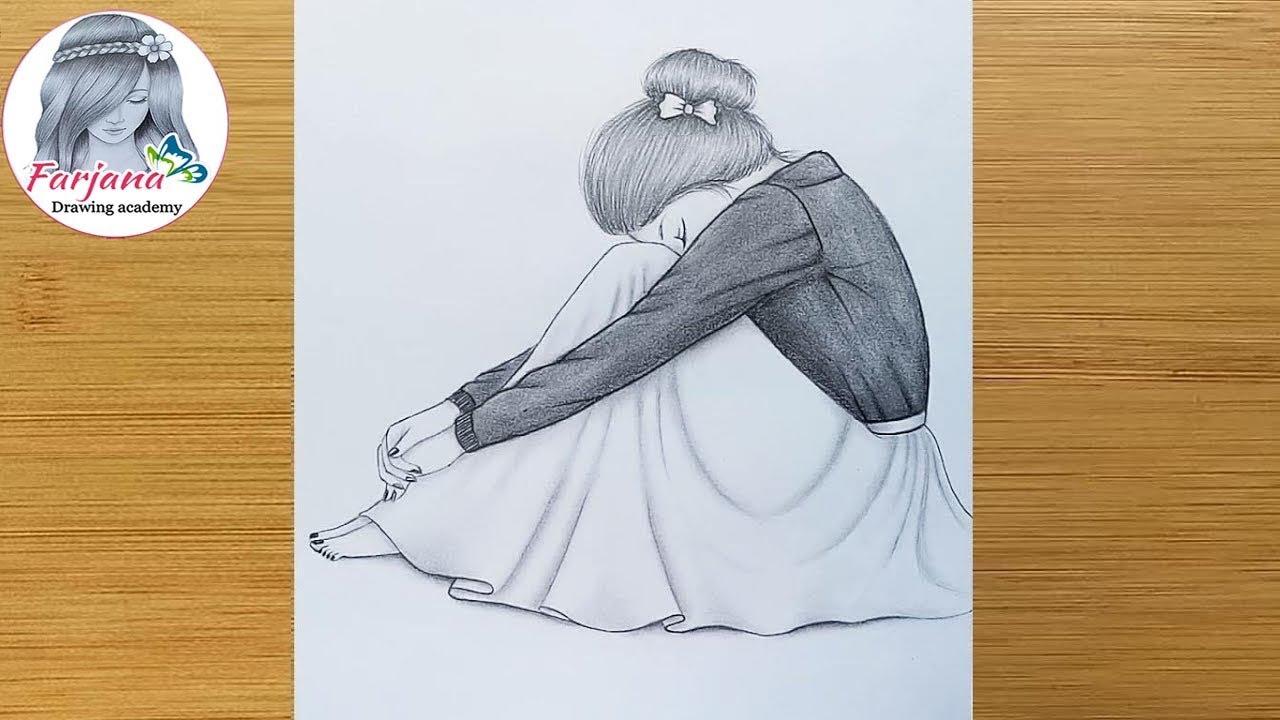 Alone Girl Pencil Sketch How To Draw A Sad Girl For Beginners Uzgun Kiz Nasil Cizilir Youtube