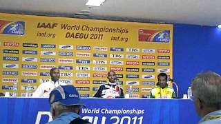 Mo Farah, Bernard Lagat and Imane Merga After 2011 World 5000m