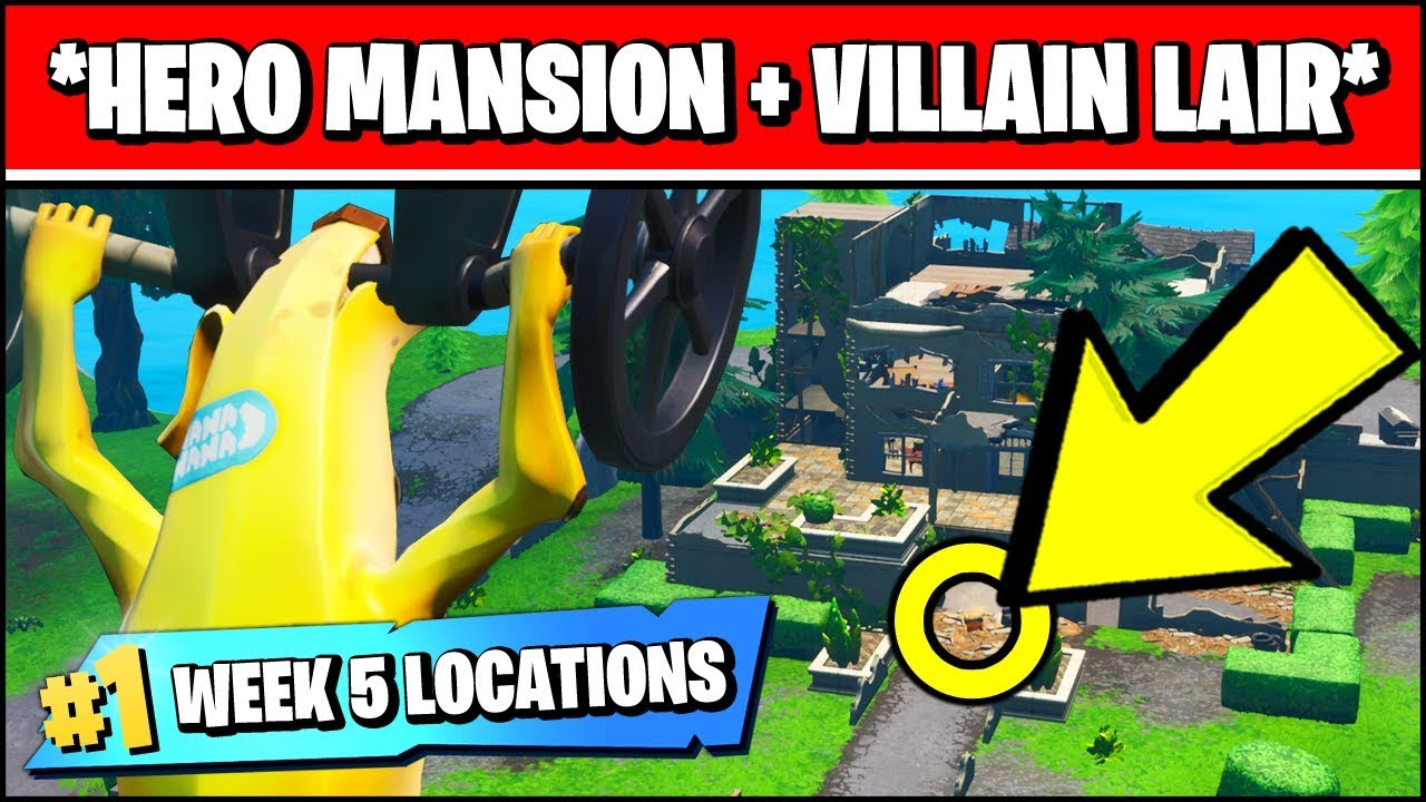 All Chest Locations Abandoned Mansion Fortnite Land At A Run Down Hero Mansion And An Abandoned Villain Lair Fortnite Season X Week 5 Challenges Youtube