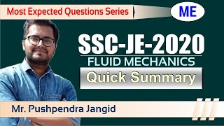 SSC JE 2020  | Most Expected Question Series | SSC JE Exam | Fluid Mechanics | ME - Summary