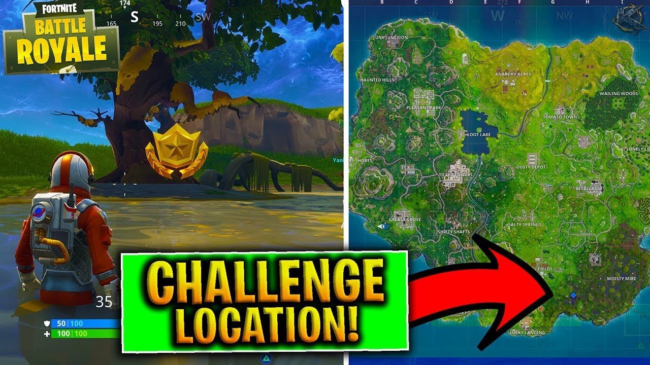 "Fortnite TREASURE MAP Riddle Challenge ""Search between a ..."