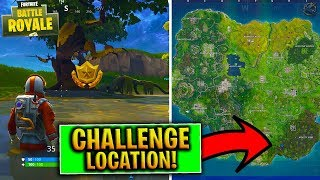 "Fortnite TREASURE MAP Riddle Challenge ""Search between a Vehicle Tower"" Week 4 Challenge!"