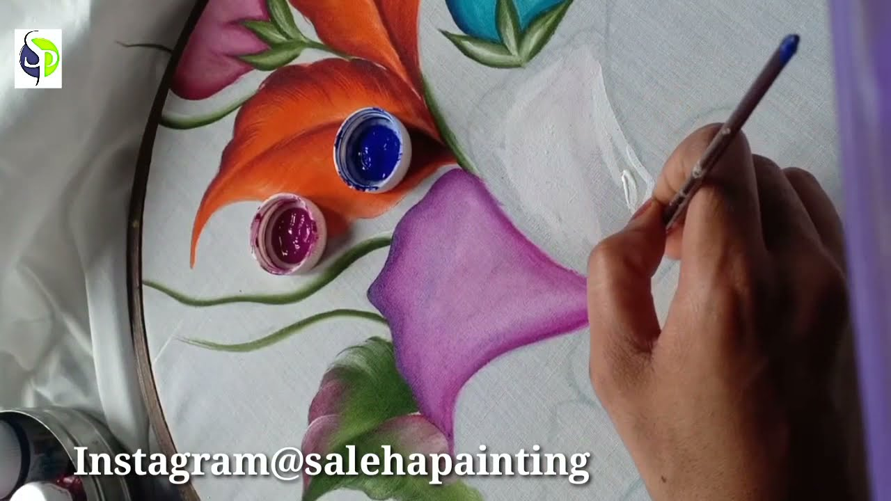 Painting tutorial bed sheet flower || tutorial second part.