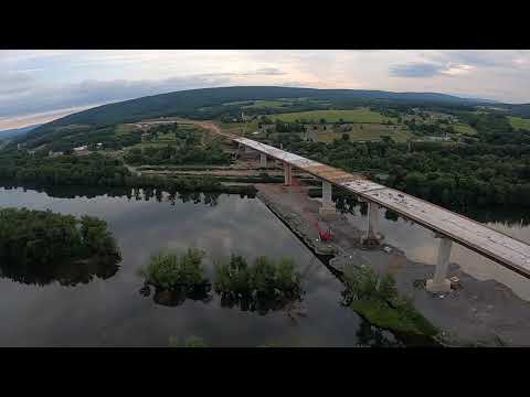 Concrete deck on highway bridge across Susquehanna River is completed