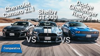 Ford Mustang Shelby GT500 VS Dodge Challenger Hellcat Redeye VS Chevrolet Camaro ZL1  Autocosmos