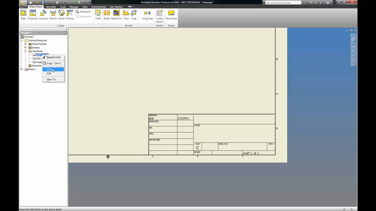 Inventor 2011 Editing The Title Block Youtube